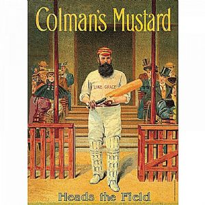 Coleman's Mustard Cricketer large metal sign 410mm x 300mm  (hb)